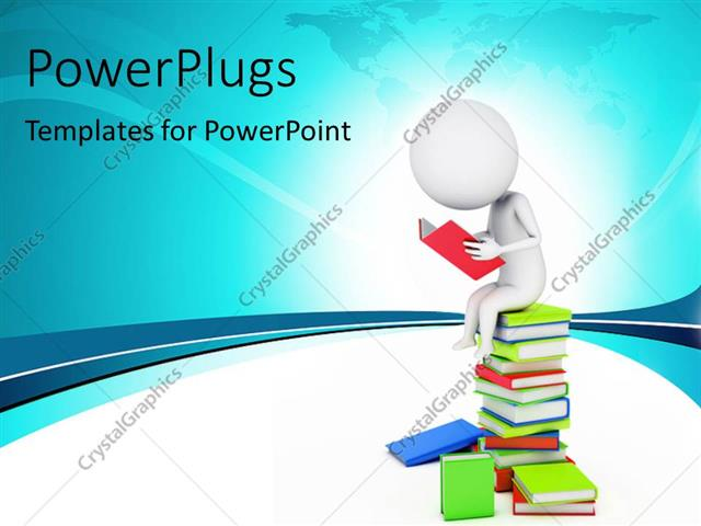 PowerPoint Template a number of books and a person reading one (10731)