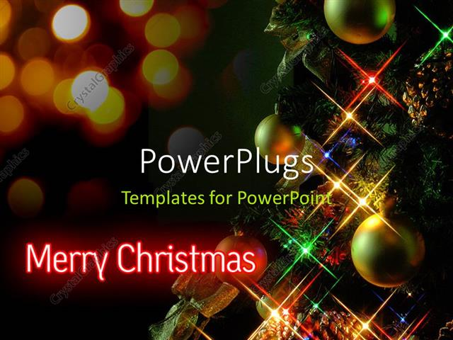 PowerPoint Template a number of circles with lights for Christmas