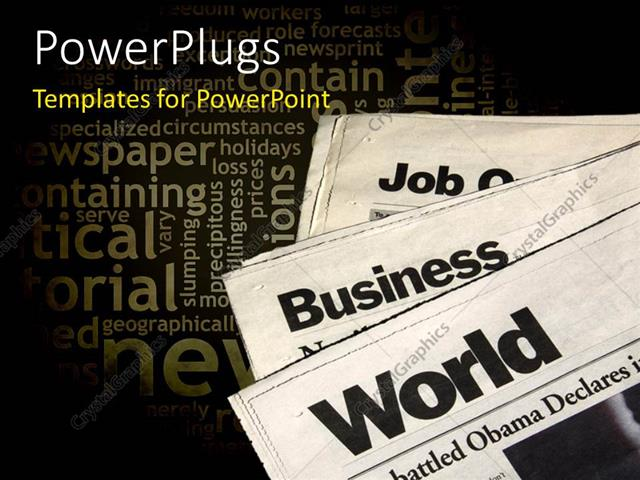 PowerPoint Template a number of newspapers with various words in