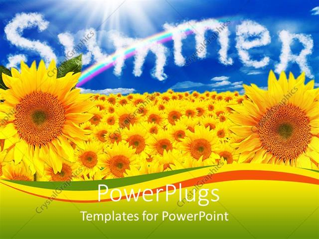 PowerPoint Template a number of sunflowers with the word summer in