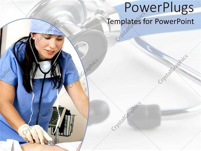 PowerPoint Template Nurse hospital worker with stethoscope and