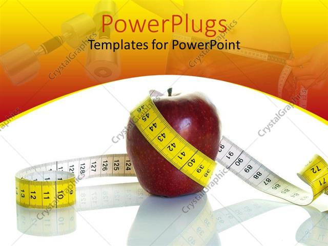 PowerPoint Template nutrition and diet theme with red apple