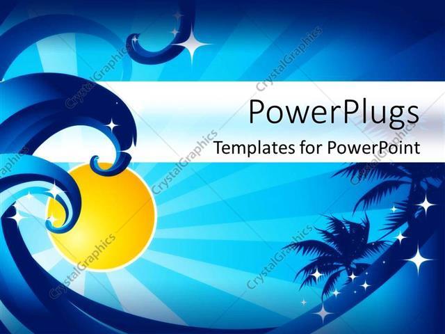 PowerPoint Template Ocean waves, palm trees, sunshine, stars, blue