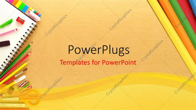 PowerPoint Template Office stationary on a Cardboard backdrop (25848) - office powerpoint template