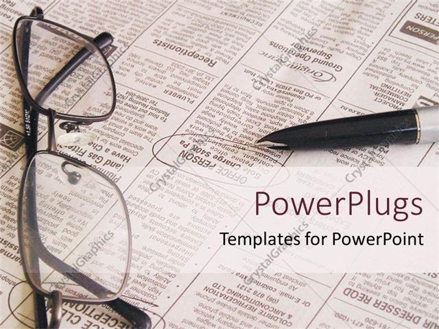 PowerPoint Template open newspaper with pen and eyeglasses, job - newspaper powerpoint template