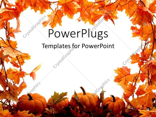 PowerPoint Template orange pumpkins and leaves for autumn festival