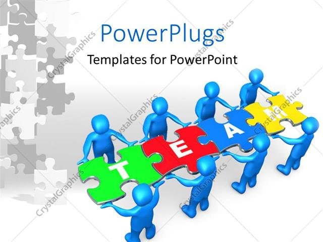 PowerPoint Template People holding pieces of a jigsaw puzzle with
