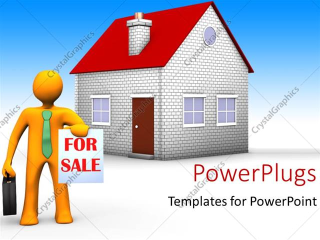 PowerPoint Template a person with the house for sale and bluish - house for sale sign template