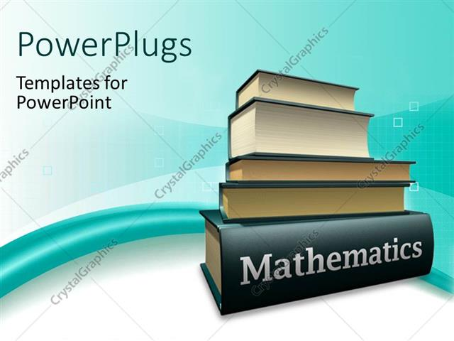 PowerPoint Template Pile of books on mathematics textbook over blue - powerpoint books