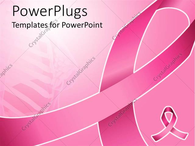 PowerPoint Template pink ribbon for fighting breast cancer with