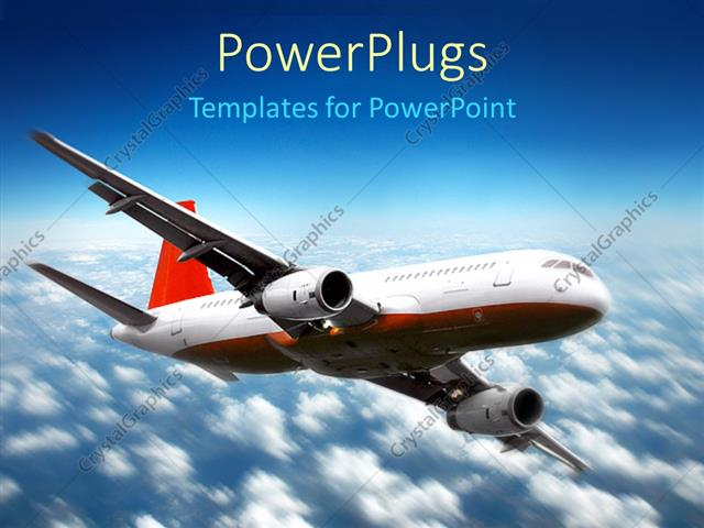 PowerPoint Template plane flying above the clouds in the sky, red
