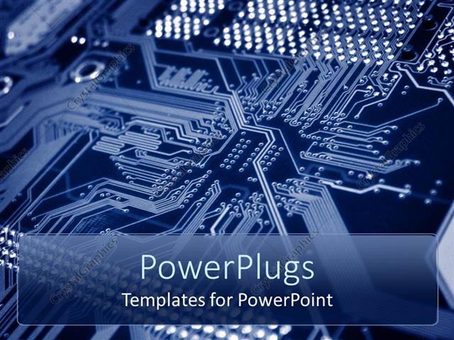 PowerPoint Template Printed circuit board with bus lines and