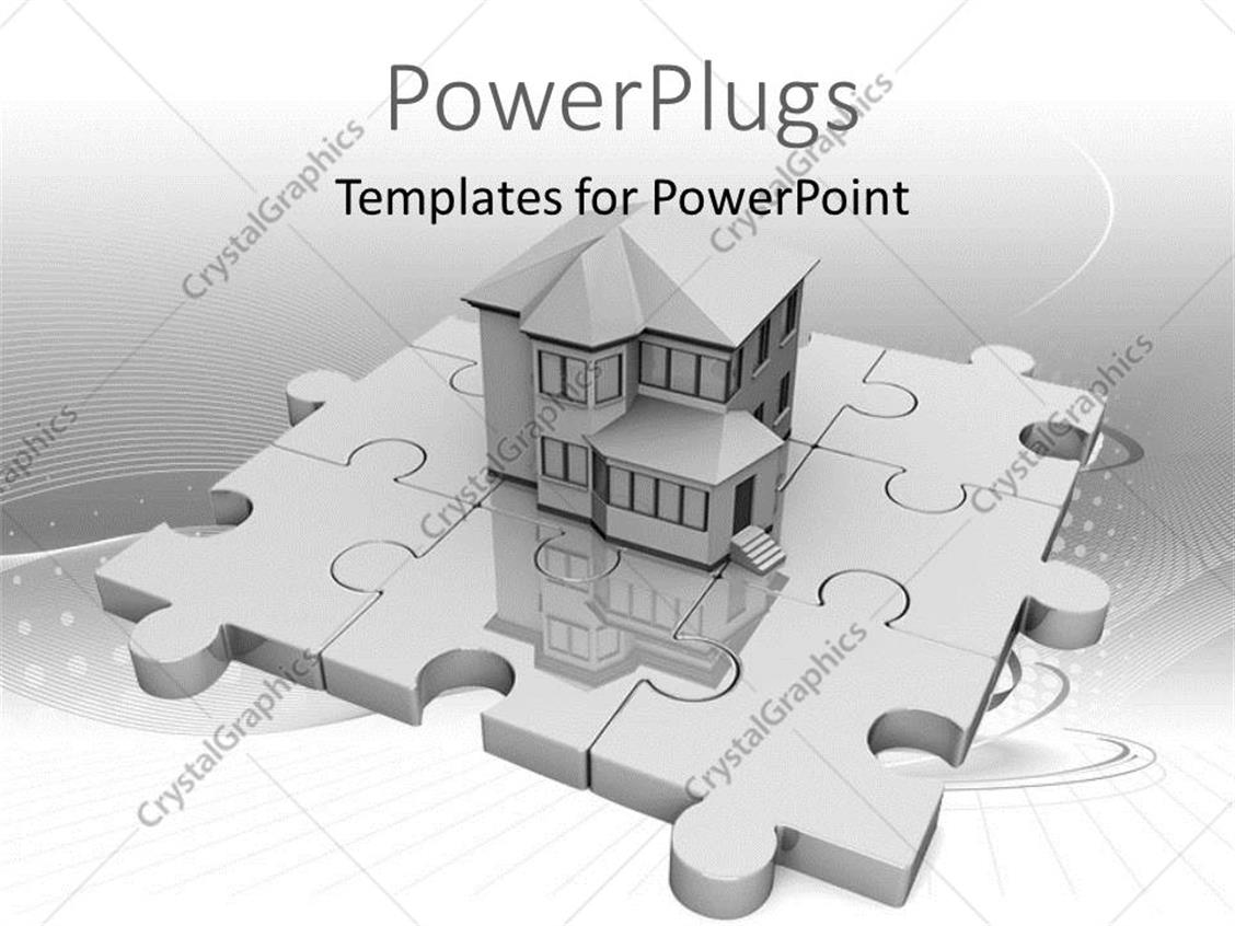 Cozy Powerpoint Template Real Estate House Standing On Jigsaw Puzzle ...