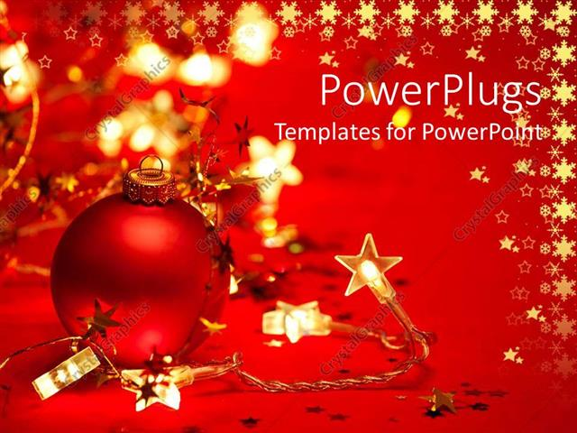 PowerPoint Template Red Christmas tree ornament with star shaped