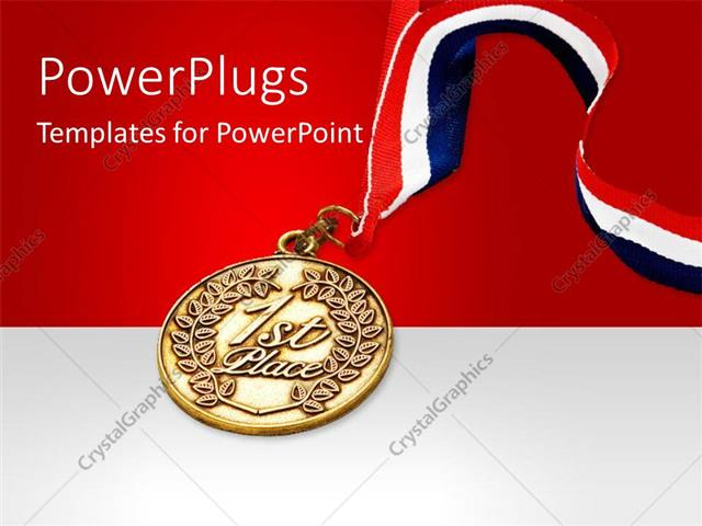 PowerPoint Template Red, white and blue colored ribbon attached to