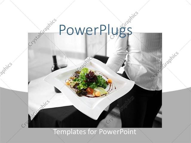 PowerPoint Template restaurant depiction of a waitress holding a