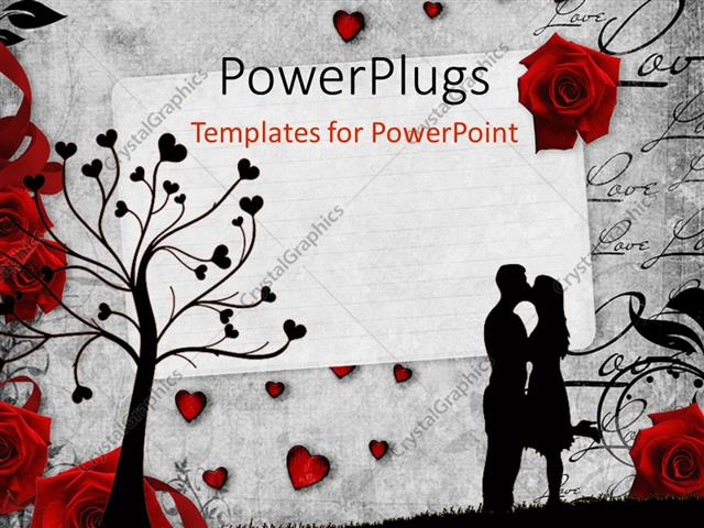 PowerPoint Template Romantic vintage background with red roses and