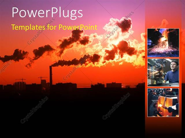 PowerPoint Template Scenery of heavy industrialized area with thick