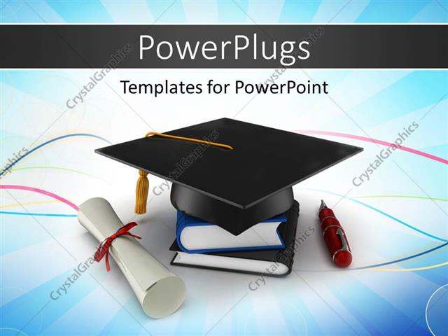 PowerPoint Template School graduation cap with degree placed over