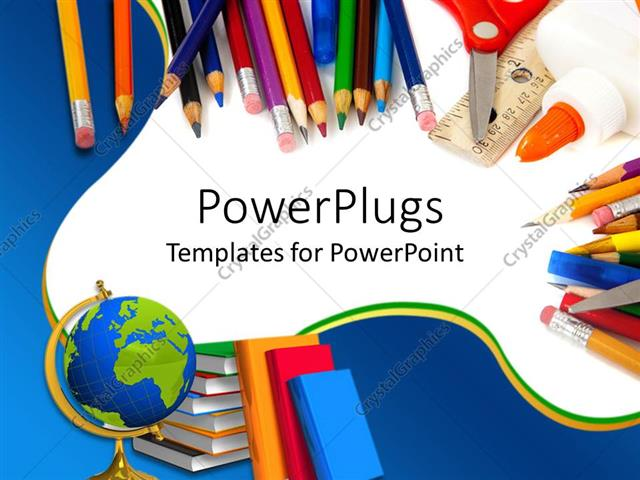 PowerPoint Template School supplies with pencils, globe, books