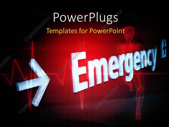 PowerPoint Template a skeleton with the word emergency (11138)