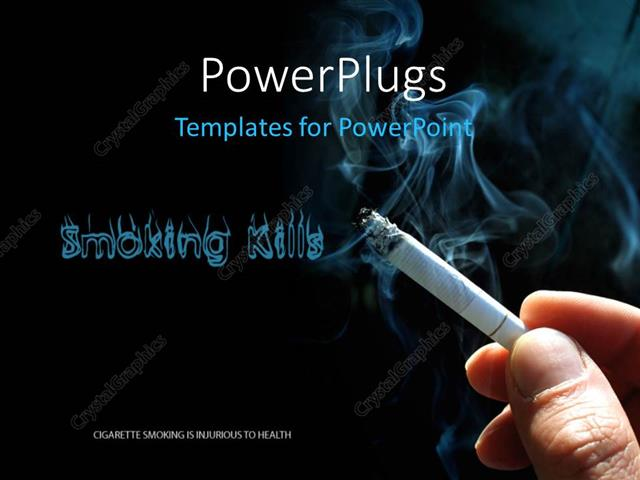 PowerPoint Template Smoking Kills concept with cigarette and smoke