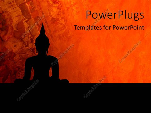 PowerPoint Template a statue of Buddha with reddish background (3578)