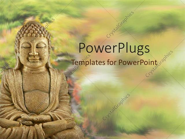 PowerPoint Template A statue of Buddha surrounded by plants with