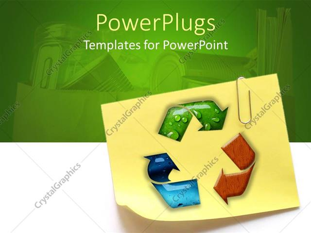 PowerPoint Template Sticky note with recycling symbol and paperclip - recycling powerpoint templates