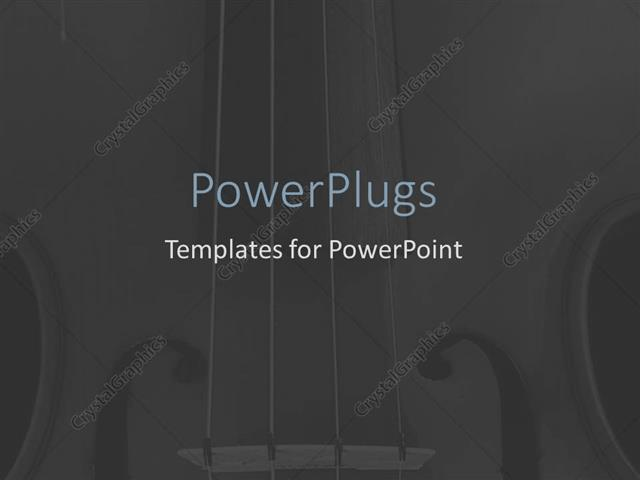 PowerPoint Template Strings of violin blurred over deep grey