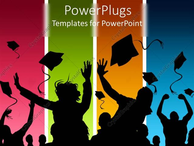 PowerPoint Template Students celebrating graduation on multicolored - graduation powerpoint