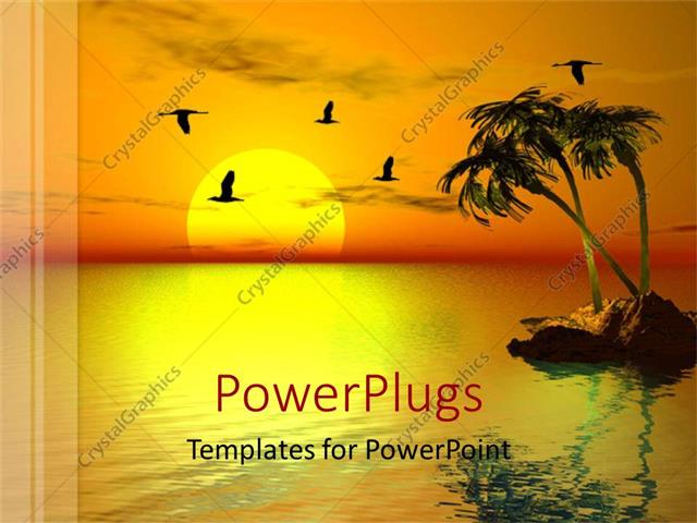 PowerPoint Template Sun set view of a small island with surrounding