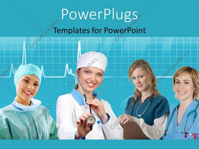 PowerPoint Template Team of nurses with stethoscope across neck and
