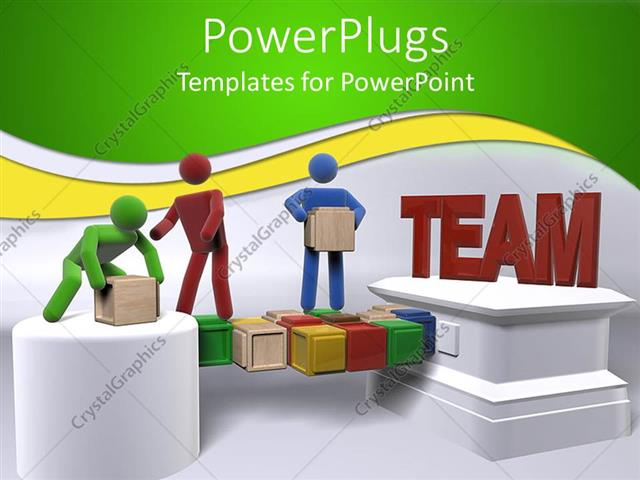 PowerPoint Template Teamwork metaphor with 3D people moving boxes