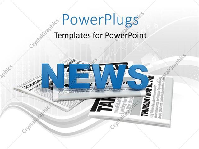 PowerPoint Template Text news on a bunch of newspaper with map and