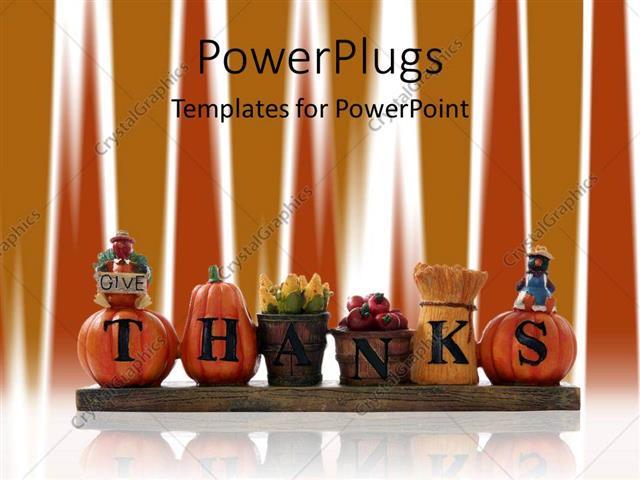 PowerPoint Template thanks written on autumn related items - thanksgiving powerpoint templates