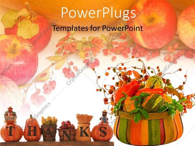 PowerPoint Template Thanksgiving theme with words give thanks - thanksgiving powerpoint templates
