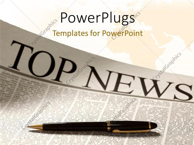 PowerPoint Template Top news headline on a newspaper page with