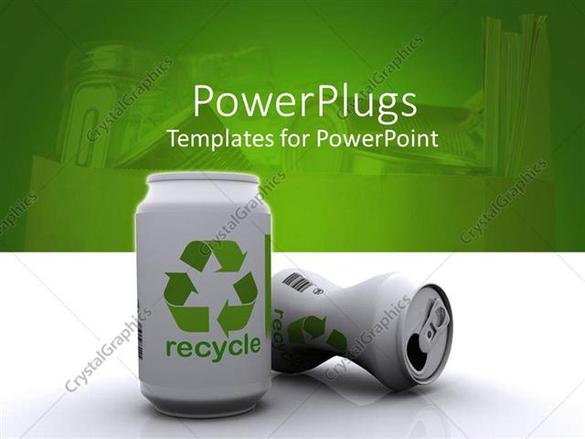PowerPoint Template two white 3D aluminum cans with green recycle - recycling powerpoint templates
