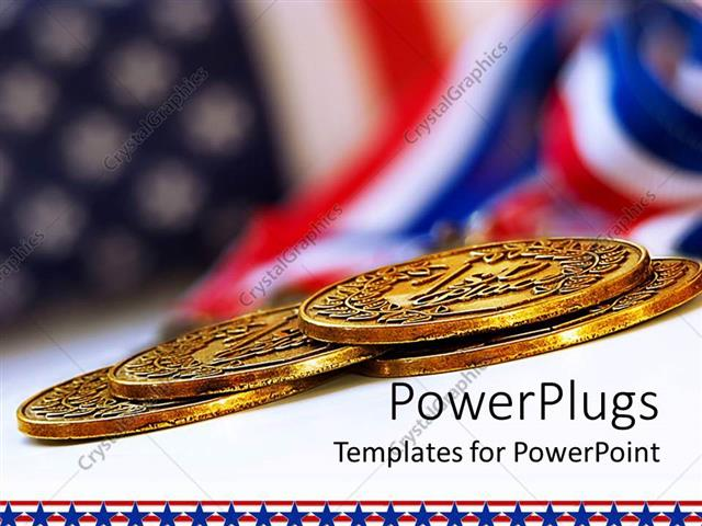 PowerPoint Template USA flag background with four gold medals in - gold medal templates