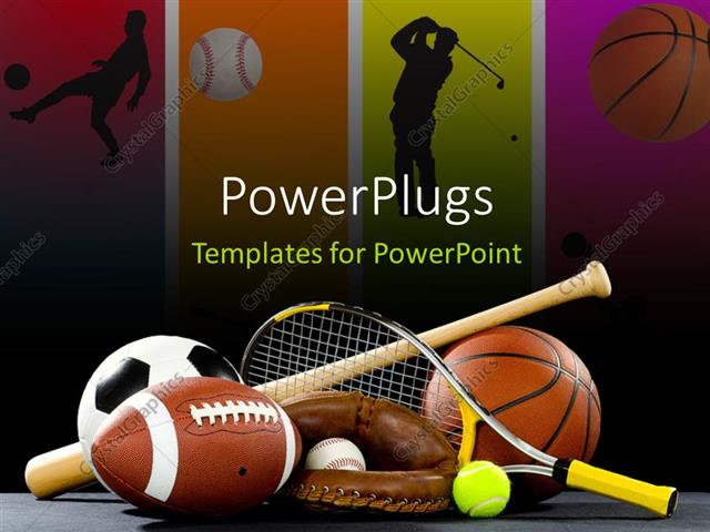 PowerPoint Template Variety of sports equipment on a black - sports background for powerpoint