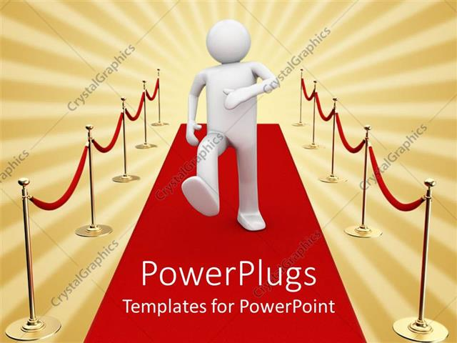 PowerPoint Template white character man walking on a red carpet