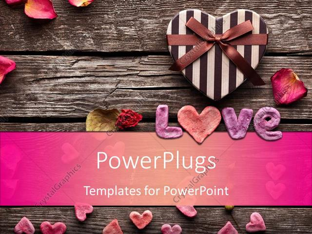 PowerPoint Template Word Love with Heart shaped Valentines Day gift - love templates