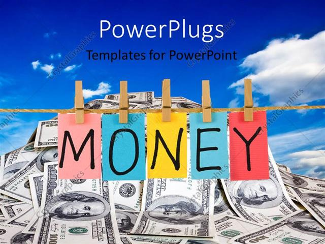 PowerPoint Template the word money in colorful form with a lot of