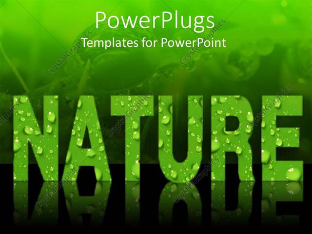 PowerPoint Template Word nature in green letters covered in dew