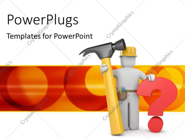 PowerPoint Template Worker wearing safety helmet with hammer and