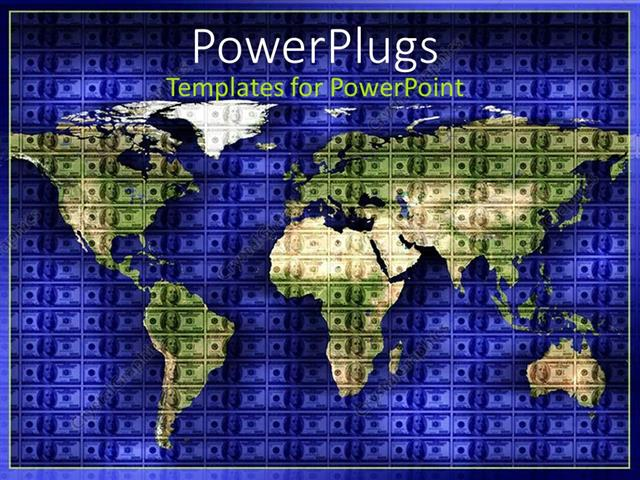 PowerPoint Template World map on a checked navy blue colored