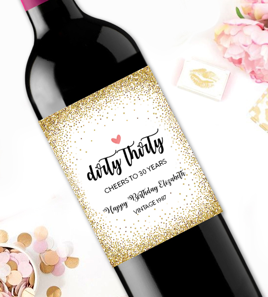 Editable Wine Label Dirty Thirty 30th Birthday Gift PDF Instant - wine label