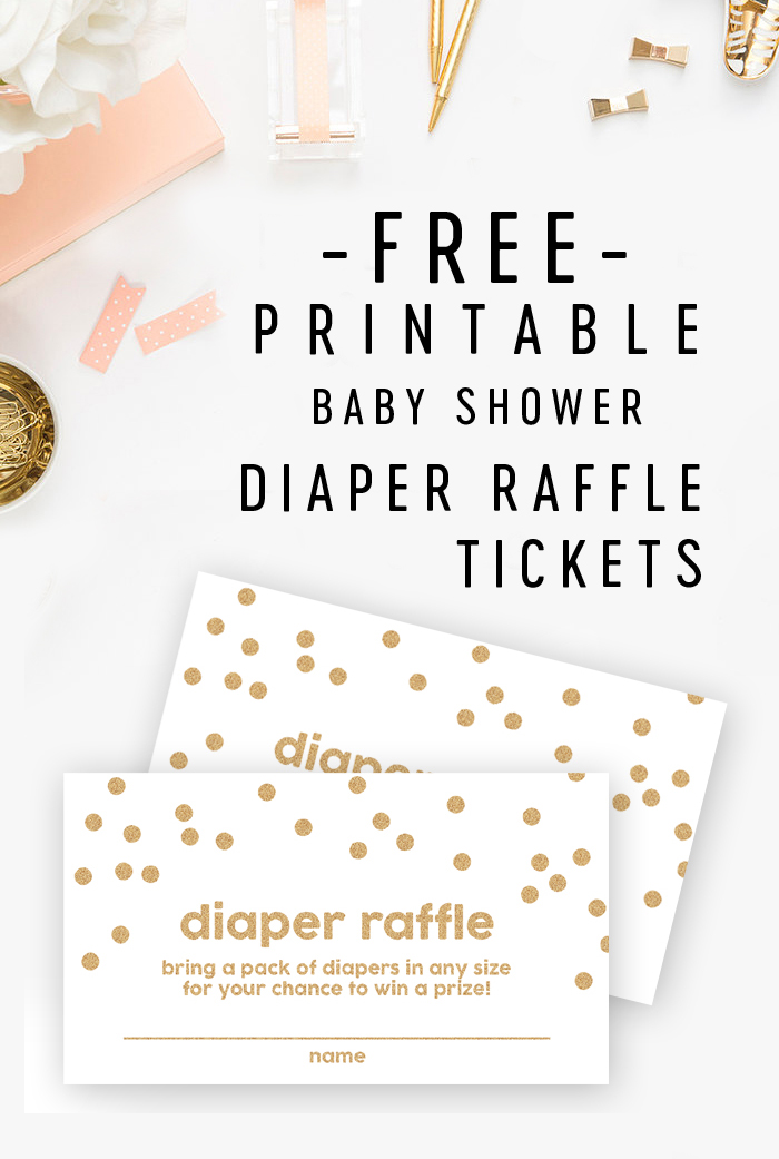 Free Baby Shower Printable - Gold Glitter Diaper Raffle Tickets