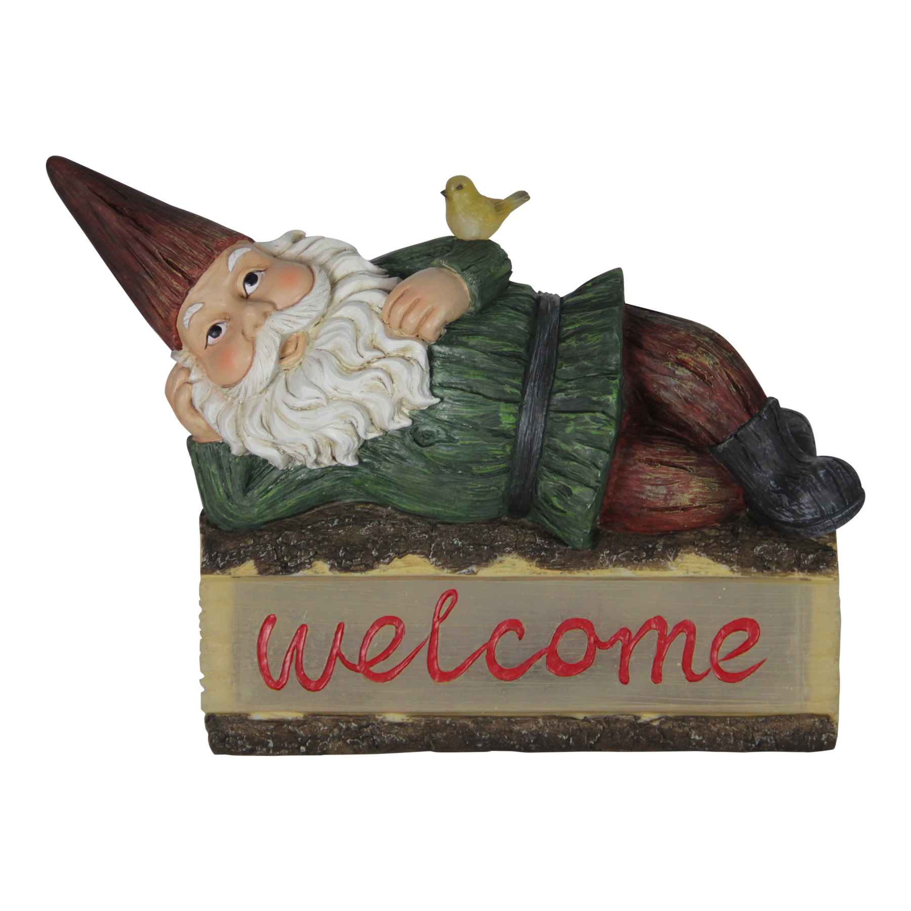 Welcome Statues Garden Solar Welcome Log Gnome